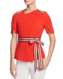 Striped-Trim Ruched-Sleeve Top at Bloomingdales