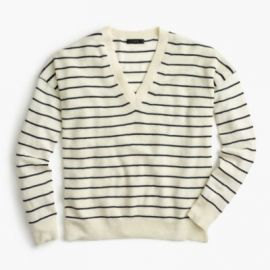 Striped V-Neck Sweater In Cotton-Merino Wool at J. Crew