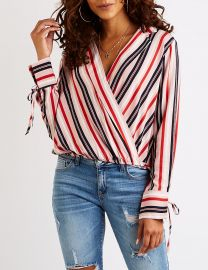 Striped Wrap Top at Charlotte Russe