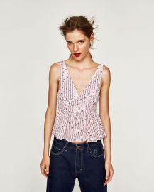 Striped and floral print top at Zara