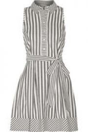 Striped cotton-blend mini dress at The Outnet