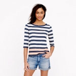 Striped elbow sleeve tee  at J. Crew