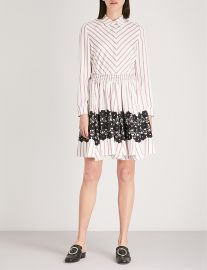 Striped flared lace detail dress at Selfridges