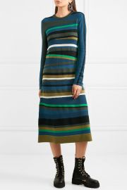 Striped knitted midi dress by Kenzo at Net A Porter