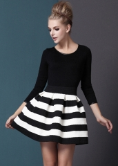 Striped long sleeve zig zag dress at She Inside