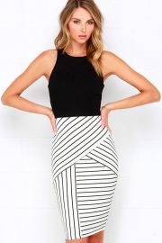 Striped midi dress at Lulus