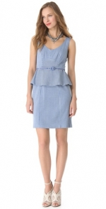 Striped peplum dress by Nanette Lepore in blue at Shopbop