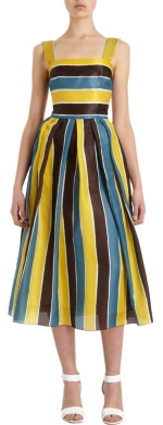 Striped pleated dress by Dolce and Gabbana at Barneys Warehouse