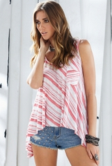 Striped pocket tank top by Elan International at Boutique To You