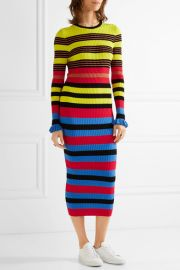Striped ribbed-Knit Midi Dress by Opening Ceremony at Net A Porter