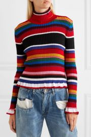 Striped ribbed wool-blend turtleneck sweater at Net A Porter