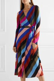 Striped silk crepe de chine wrap midi dress at Net A Porter