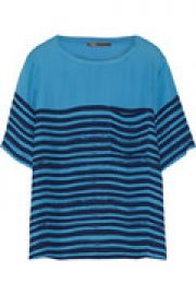 Striped silk-twill T-Shirt at The Outnet