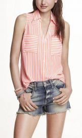 Striped sleeveless portofino shirt at Express