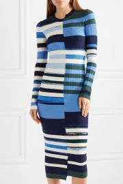 Striped stretch-knit midi dress at Net A Porter