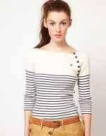 Striped sweater with buttons from ASOS at Asos