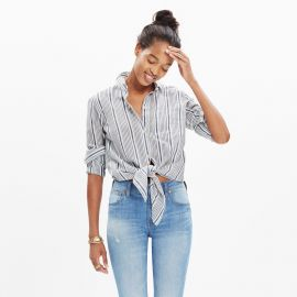 Striped tie front shirt at Madewell