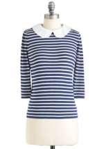 Striped top with white collar at Modcloth