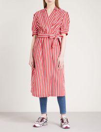 Striped woven wrap dress at Selfridges