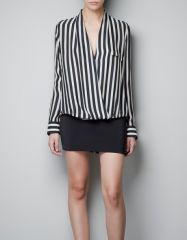 Striped wrap blouse at Zara