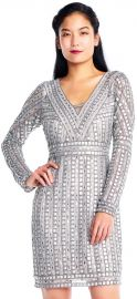 Stud Beaded Sheath Dress with Sheer Long Sleeves by Adrianna Papell at Adrianna Papell