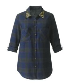 Stud Check Shirt at Simply Be