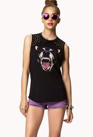 Studded Dog Muscle Tee at Forever 21