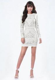 Studded Jacquard Dress at Bebe