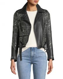 Studded Lambskin Leather Classic Moto Jacket by Nour Hammour at Bergdorf Goodman