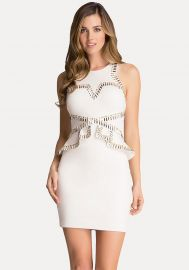 Studded Peplum Ponte Dress at Bebe