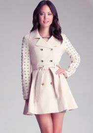 Studded Sleeve Flared Trench Coat at Bebe