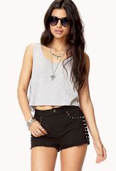Studded denim cutoff shorts at Forever 21