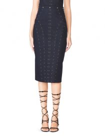 Studded denim pencil skirt at Tamara Mellon