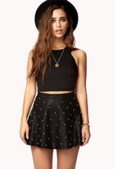 Studded faux leather skirt at Forever 21