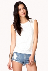 Studded shoulder tee at Forever 21
