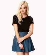 Studded sleeve top at Forever 21