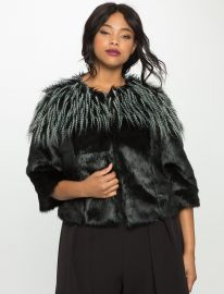 Studio Mixed Faux Fur Jacket by Eloquii at Eloquii