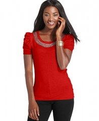 StyleandcoPetite Sweater Short-Sleeve Embellished Ruched - Petite Sweaters - Women - Macys at Macys