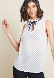 Stylish Vision Tie-Neck Top in Dotted White x at ModCloth