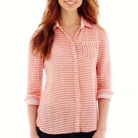 Stylus Long Sleeve Button front Shirt at JC Penney