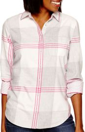 Stylus Long sleeve brushed twill plaid shirt in Cheerful pink at JC Penney