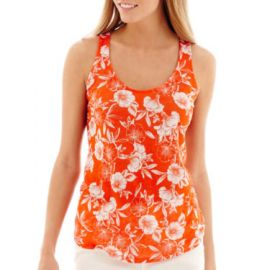 Stylus Tangerine Floral Racerback Linen Tank at JC Penney