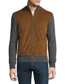 Suede-Panel Front-Zip Sweater by Ralph Lauren at Bergdord Goodman