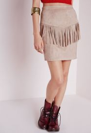Suede fringed skirt at Missguided