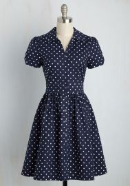 Summer School Cool Dress in Navy Dots at ModCloth