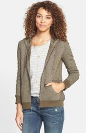 Sun andamp Shadow Lace Panel Front Zip Hoodie in Brown at Nordstrom
