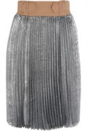 Sunburst buckle-waist metallic pleated skirt at The Outnet