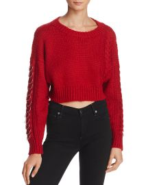 Sunset   Spring Hardware Detail Cable-Knit Sweater red at Bloomingdales