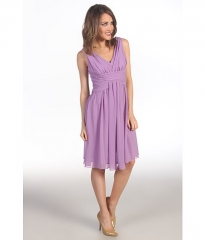 Suzi Chin for Maggy Boutique Sleeveless V-Neck Dress With Ruching Orchid at 6pm