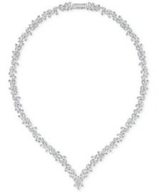 Swarovski 16  Silver-Tone Marquise Crystal V-Necklace at Macys